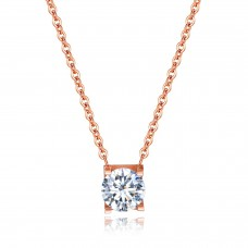 Double Fair OL Style Cubic Zirconia Chain Necklaces & Pendants Rose Gold Color Fashion Crystal For Women - GX1352