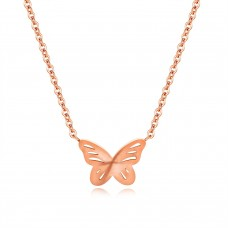 Butterfly Zirconia Chain Necklaces & Pendants Rose Gold Color Fashion Crystal Wedding Jewelry For Women - GX1366